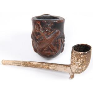 Confederate Naval Carved Pipe, Plus, Property of N. Flayderman & Co.