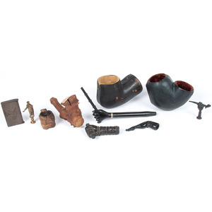 Miscellaneous Group of Civil War Pipes, Stems, Matches, and More, Property of N. Flayderman & Co.