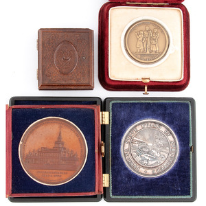 Lot of 3 Commemorative Medals Housed in Union, Leatherette, and Velvet Cases, Plus