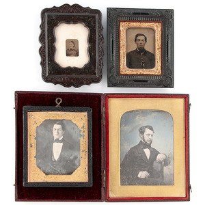 Assorted Daguerreotype, Ambrotype, and Tintype Portraits Housed in Notable Wall Frames and Cases, Including Quarter Plate English Example by