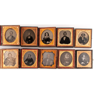 Lot of 31 Assorted Daguerreotype, Ambrotype, and Tintype Portraits of Men and Women, Incl. Two Portraits from the Same Sitting