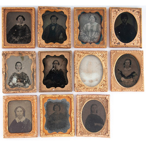 Lot of 32 Assorted Loose Daguerreotype, Ambrotype, and Tintype Portraits, Incl. Full Plate Tintype of a Handsome Young Man from Montana, Plus