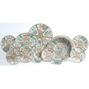 A Group of Chinese Export Rose Medallion Porcelain Table Wares