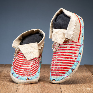 Sioux Quilled and Beaded Hide Moccasins