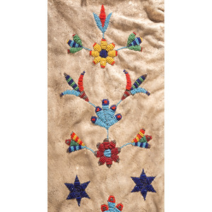 Plains Beaded Hide Tobacco Bag, with Birds