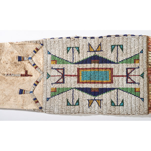 Sioux Beaded Pictorial Hide Tobacco Bag