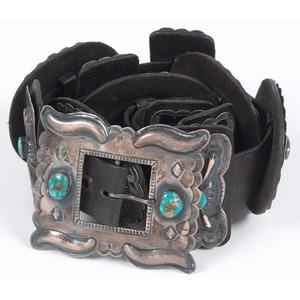 (Cincinnati) Navajo Sterling Silver and Turquoise Concha Belt