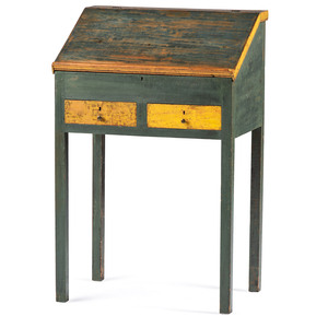 A Painted Two Drawer Pine School Masters Desk