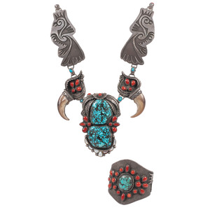 (Cincinnati) Southwestern Silver Overlay, Coral, Turquoise, Shell, and Claw Necklace and Cuff Bracelet
