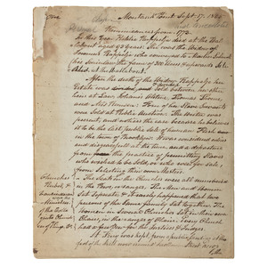 Handwritten Reminiscence of Revolutionary-Era Brooklyn and New York, Ca 1845
