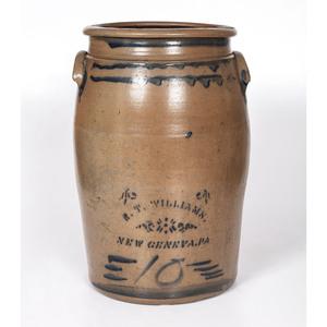 A New Geneva, Pennsylvania Ten Gallon Stoneware Crock