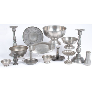 A Group of Pewter Tableware