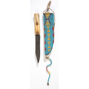 Cheyenne Beaded Hide Knife Sheath, with Knife, From the Collection of Robert Jerich, Illinois
