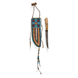 Sioux Beaded Buffalo Hide Knife Sheath, with Knife, From the Collection of Robert Jerich, Illinois