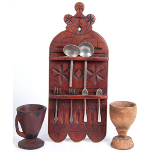 A Wooden Pewter Utensils Rack and Two Wooden Goblets
