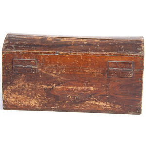 A Painted Decorated Dome Top Document Box