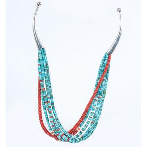 (Cincinnati) Multi-Strand Coral and Turquoise Necklace