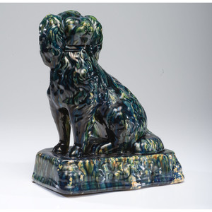 An Ohio Flint Enamel Glaze Yellowware Spaniel