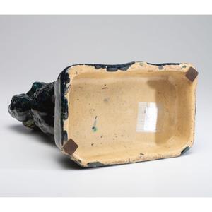 An Ohio Flint Enamel Glaze Yellowware Spaniel