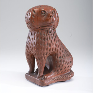 An Ohio Glazed Redware Bagnall-style Dog