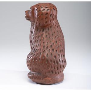 An Ohio Glazed Redware Bagnall-style Dog