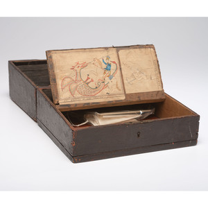 A Combination Collection Box  and Traveling Desk With Interior Watercolor Drawings