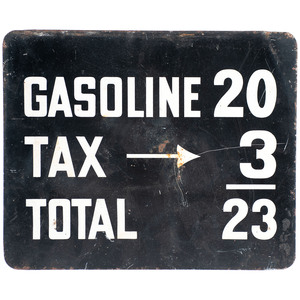 A Wooden 'Catfish' Advertising Sign & A Sheet Metal Gasoline Sign