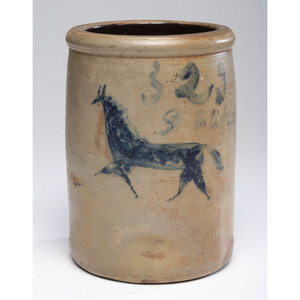 A Two-Gallon Ohio Stoneware Crock With Incised Cobalt Horse