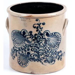 A Fine Norton 5 Gallon Stoneware Crock with Complex Cobalt Floral Decoration
