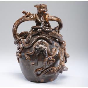 "A Fine Anna Pottery Style ""Temperance"" Albany Slip Stoneware Jug by Brian Moore"