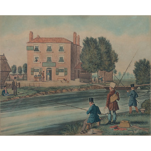 A Hand-Colored Lithograph After J. Pollard, Bottom Fishing