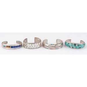 (Cincinnati) Navajo and Zuni Silver and Inlay Cuff Bracelets
