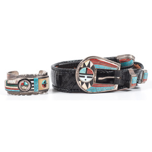 (Cincinnati) Don C. Dewa (Zuni, act. since 1970's) Matching Silver and Channel Inlay Cuff Bracelet AND Ranger Set