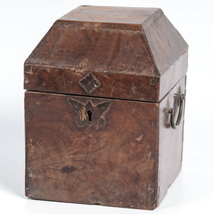 A Burlwood Box with Iron Handles and Butterfly Escutcheon