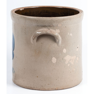 A Cobalt Decorated Stoneware 4-Gallon Twin-Handle Crock, J. Fisher & Co., Lyons, N.Y.