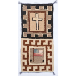 "Navajo Pictorial Weaving / Rug, ""Of God and Country"""