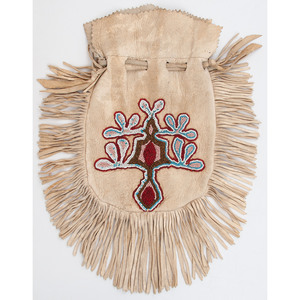 Plains Beaded Hide Drawstring Pouch