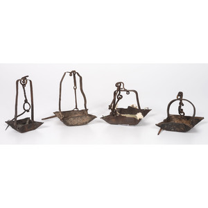 Four Wrought Iron Hanging Oil Lamps