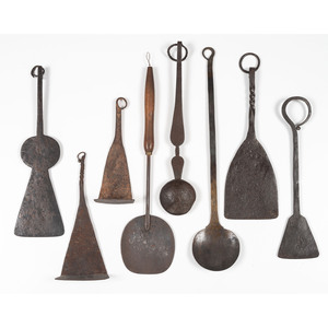 A Group of Early Wrought Iron Kitchen Utensils
