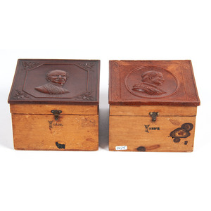 Pair of Very Very Rare Collar Boxes Featuring Portraits of Popes Pius IX and Leo XIII