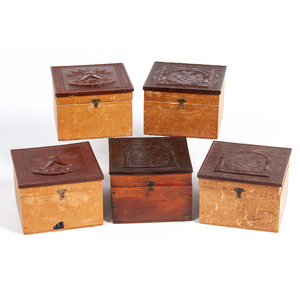 Lot of 5 Scarce Collar Boxes with Fraternal Motiffs
