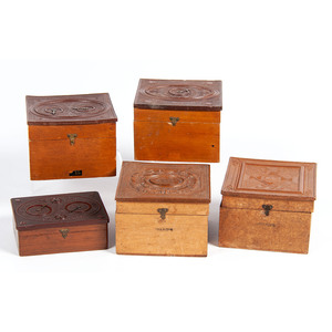 Very Very Rare and Very Rare Collar Boxes, Including Single Spinner Game, Double Spinner Game, and The Daguerrian Gallery, Plus, Lot of 5