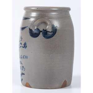 A Pennsylvania Three Gallon Stoneware Jar with Freehand and Stenciled Cobalt Decoration