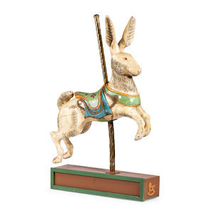 A Carved and Painted Pine Rabbit Carousel Figure