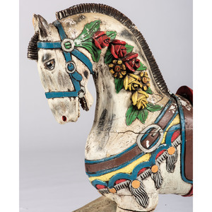 A Carved and Painted Pine Carousel Horse