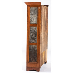 A Federal Punched-Tin Decorated Figured Cherrywood Pie Safe