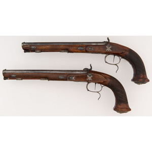 A Pair of Percussion Altered Pistols by Johann Christoph Kuchenreiter