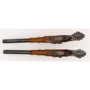 A Pair of German Precussion Dueling Pistols