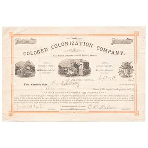 Colored Colonization Company Stock Certificate, 1893