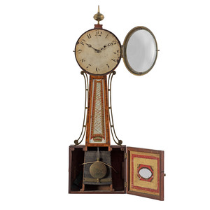 A Federal Reverse-Painted Glass and Inlaid Mahogany Banjo Clock